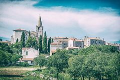 Bale village, Istria, Croatia, analog filter. Historical Bale village in Istria, Croatia. Travel destination. Beautiful place. Analog photo filter with scratches royalty free stock photo