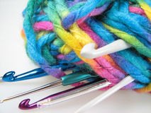 Bale of Yarn with Hooks Royalty Free Stock Images