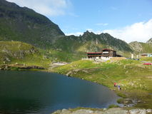 Balea Lake and Balea Cabin, Romania Royalty Free Stock Photography