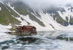Balea lake chalet Royalty Free Stock Image