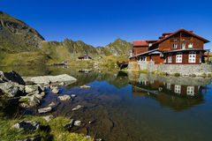 Balea Lake chalet reflection Stock Photography