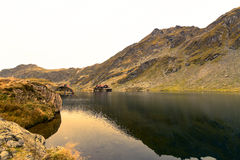 Balea lake in Fagaras moutains, Romania Royalty Free Stock Image