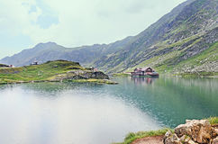 Balea Lake glacier lake situated at 2034m altitude in the Fagara Royalty Free Stock Photography