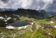 Summer landscape at Balea Lake Chalet in Fagaras Mountains, Carpathians. Balea Lake is a glacier lake situated at 2,034 m altitude in the Fagaras Mountains, in royalty free stock images