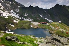 Summer landscape at Balea Lake Chalet in Fagaras Mountains, Carpathians. Balea Lake is a glacier lake situated at 2,034 m altitude in the Fagaras Mountains, in stock photos