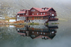 Balea Lake and hut. Trip in Fagaras Mountains, in september Stock Photo