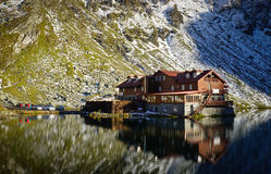 Balea Lake mountain hut Stock Photo