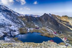 Balea lake, Romania. Balea lake in Fagaras mountains, in September, Romania stock photography