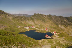 Balea Lake, seen from above. Glacial lake, on Transfagarasan highway Royalty Free Stock Images