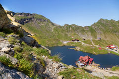 Balea Lake, seen from above. Glacial lake, on Transfagarasan highway Stock Photography