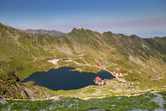 Balea Lake, seen from above. Glacial lake, on Transfagarasan highway Royalty Free Stock Photos