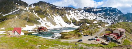 Balea Lake Transfagarasan, Transylvania, Romania. Panoramic view Stock Photography