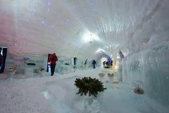 BALEA, ROMANIA - JANUARY 27 2017 - Ice hotel in the frozen Balea Lake in the Fagaras mountains, Romania Royalty Free Stock Photo