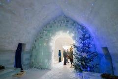 BALEA, ROMANIA - JANUARY 27 2017 - Ice hotel in the frozen Balea Lake in the Fagaras mountains, Romania Stock Image