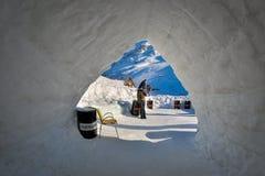 BALEA, ROMANIA - JANUARY 27 2017 - Ice hotel in the frozen Balea Lake in the Fagaras mountains, Romania Stock Photo