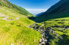 Balea stream of Fagaras mountains in Romania royalty free stock images