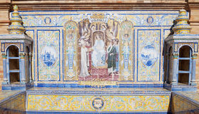 Baleares. Andalusian ceramic Poster depicting historic moments of the city of Baleares Stock Image