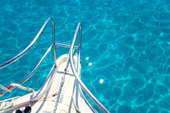 Balearic blue clean turquoise water from boat bow Royalty Free Stock Photography