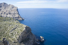 Balearic, cliffs in Formentor, region north of the island of Mal Royalty Free Stock Photography