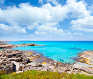 Balearic formentera island in escalo rocky beach Stock Images