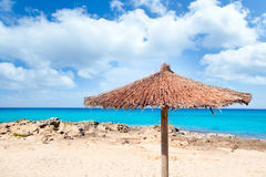 Balearic Formentera island with umbrella beach Royalty Free Stock Photo