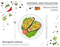 Balearic Island kokkonst Europeisk nationell maträttsamling minut royaltyfri illustrationer