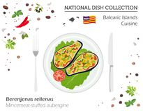 Balearic Islands Cuisine. European national dish collection. Min. Cemeat stuffed aubergine isolated on white, infographic. Vector illustration Stock Photos