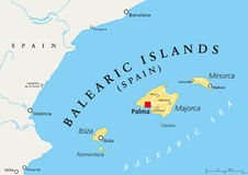 Balearic Islands political map Stock Photography