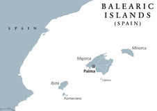 Balearic Islands political map Royalty Free Stock Image