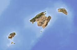 Balearic Islands, shaded relief map. Balearic Islands. Shaded relief map. Surrounding territory greyed out. Colored according to vegetation. Includes clip path Stock Images