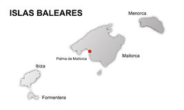 Balearic islands spain vector map stock image
