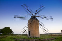 Balearic islands windmill sunset in Formentera Stock Photo