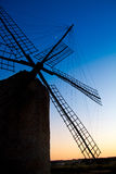 Balearic islands windmill sunset in Formentera Stock Image