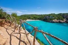Balearic medelhavs- för Cala Macarella Menorca turkos Royaltyfri Fotografi
