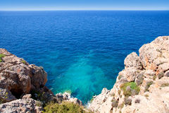 Balearic Mediterranean sea high view from Barbaria Stock Image
