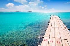 balearic trä för turkos för hav för strandformentera pir royaltyfria foton