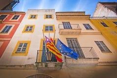 Balearisch, Spanisch und EU-Flaggen Stockfotos