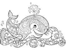 Baleia Antistress da coloração nas ondas Garranchos, linhas pretas, teste padrão, fundo branco Peixes grandes no vetor da água ilustração royalty free