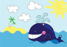 Baleia bonito dos desenhos animados Imagens de Stock Royalty Free