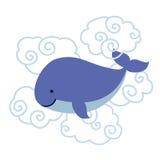 Baleia bonito dos desenhos animados nas nuvens isoladas no fundo branco Fotos de Stock