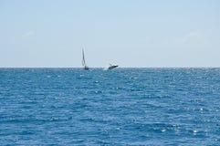 Baleia de corcunda que rompe ao lado de um barco de navigação fotografia de stock royalty free