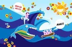 Baleia e coelhos ilustração do vetor
