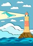 Baleia gigante com montanhas e farol Foto de Stock Royalty Free