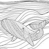 Baleia nas ondas para a anti página da coloração do esforço Imagem de Stock
