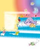 Baleia no mar com o espaço da lua para redigir a poemas o projeto cômico do humorista Fotografia de Stock