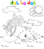 A baleia perto da ilha com palmas pontilha para pontilhar Imagens de Stock Royalty Free