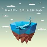 Baleia poligonal no mar na ilha de flutuação baixo Fotos de Stock Royalty Free