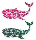 Baleias coloridas ilustração stock