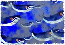 Baleias de Grunge ilustração stock