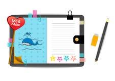 Baleias mim e da mamã com o caderno do azul do amor Imagem de Stock Royalty Free